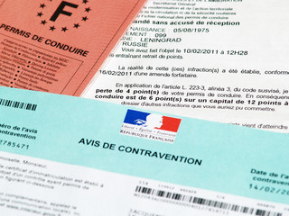 Avis de contravention, solde de points restants