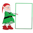 Christmas elf writing on a blank board with a red paint