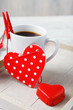 Sweet little heart and coffee cup
