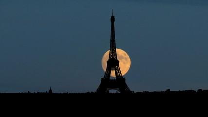 France Eiffel tower moonrise