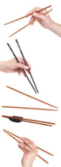 chopsticks on a white background set