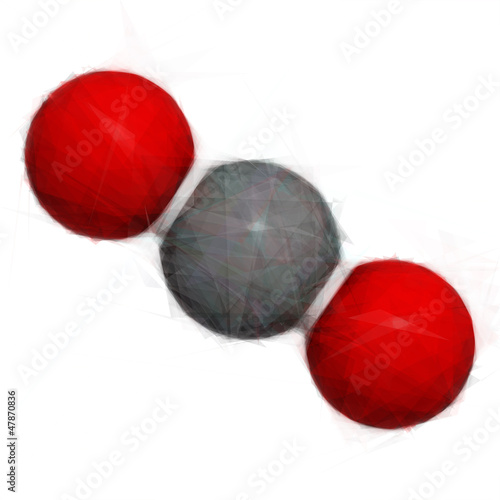 Carbon dioxide (CO2) molecule. Stylized vector image.