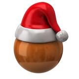 Orange sphere and Santa Claus red hat