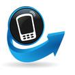téléphone sur bouton flêche bleue