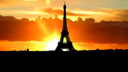 France Eiffel tower sunrise