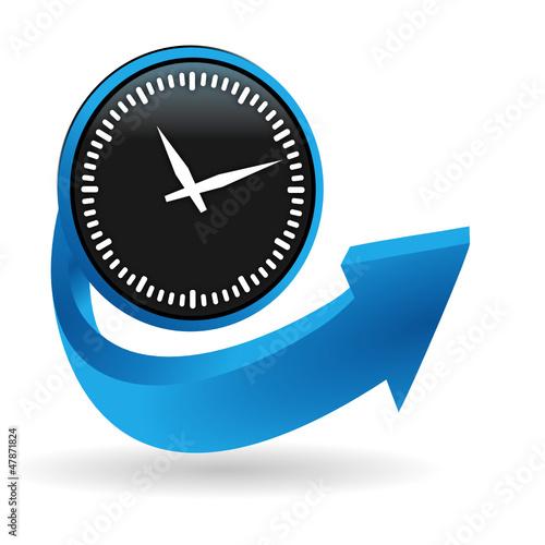 horloge sur bouton flêche bleue