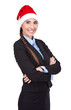 cheerful businesswoman with santa hat