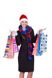 Christmas woman with shopping bags