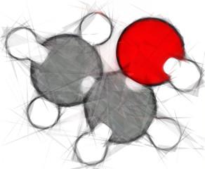 Ethanol (EtOH, ethyl alcohol) molecule. Stylized vector image