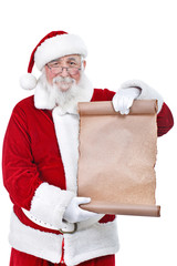 Santa holding blank scroll list