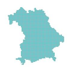 Bayern blau  - Serie: Pixelkarte Bayerische Bezirke