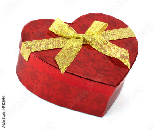 Heart red present box with golden ribbon isolated on white