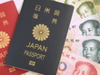 Japanese Passport and Chinese Yuan Note