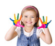 Smiling little girl with hands in the paint isolated on white