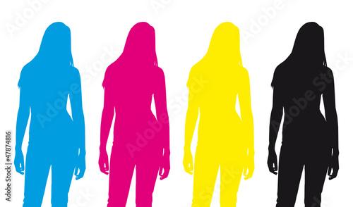 CMYK Silhouette Mädchen / Frau