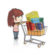 Girl buying many gifts in a toy store. Vector design.