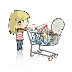 Girl buying many items in a store. Vector illustration.