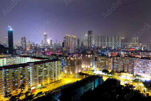 downtown in Hong Kong at night