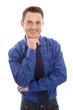 Attraktiver junger Geschäftsmann in Blau isoliert