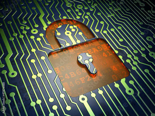 Security concept: circuit board, closed padlock