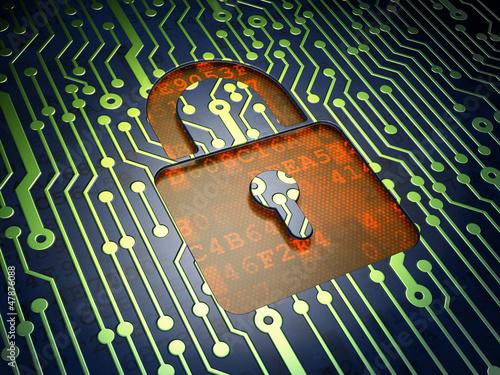 Security concept: circuit board, closed padlock
