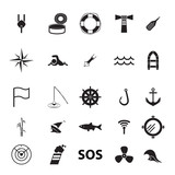 set of icons on the theme of fishing and the sea