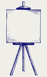 Easel with empty canvas. Doodle style