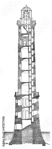 Leinwanddruck Bild Phare - Lighthouse - Leuchtturm - 19th century