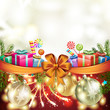 Christmas gift with bow, ball and pine tree