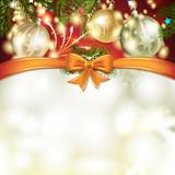 Christmas card with pine tree, bow and ball