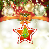 Christmas star with tree, bow and ball