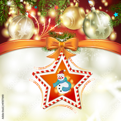 Christmas star with snowman, bow and pine tree