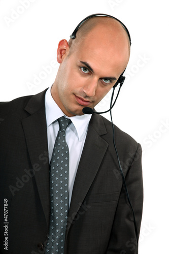 businessman with headset on his head