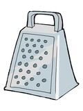 hand drawn, vector, sketch illustration of grater