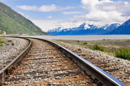 Railroad tracks running through Alaskan landscape