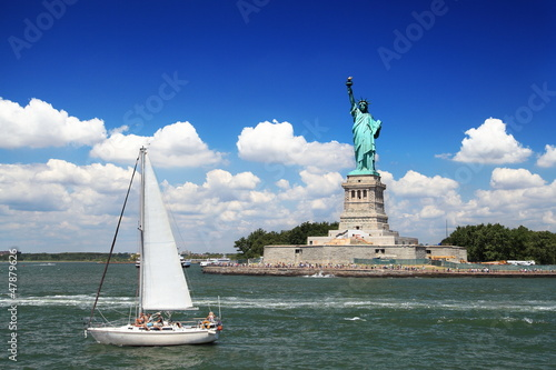 Statue de la liberté et hudson river, New York.