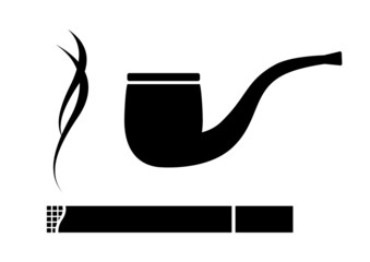 Cigarette and tobacco pipe on white background