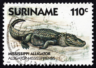Postage stamp Suriname 1988 Mississippi Alligator, animal
