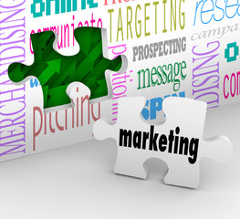 Marketing Wall Puzzle Piece Market Plan Strategy