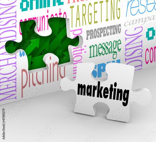 Marketing Wall Puzzle Piece Market Plan Strategy