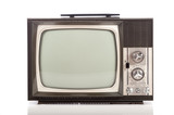retro television on white background
