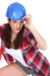 Woman with blue helmet