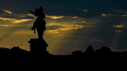 France Versailles Palace and Lui XIV sunbeams