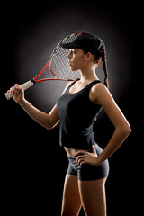Attractive tennis woman player hold racket