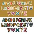 Doodle retro alphabet in vector