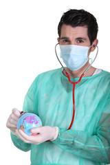 Nurse with stethoscope examining Earth