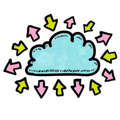Doodle media cloud with arrows