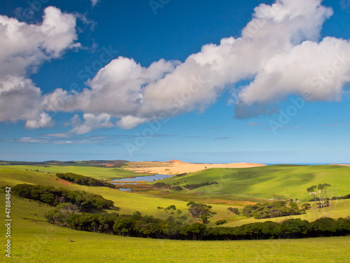Green tranquil Valley with Blue Sky