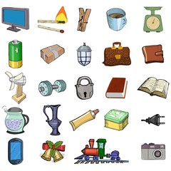 Set of sketch, vector illustration of home related objects