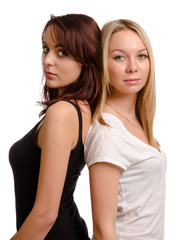 Two shapely young women friends